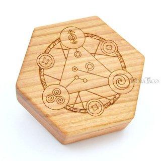 六角形ダイスボックス【魔法陣/チェリー木材】