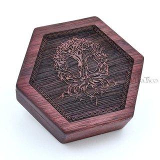 六角形ダイスボックス【ユグドラシル/パープル木材】