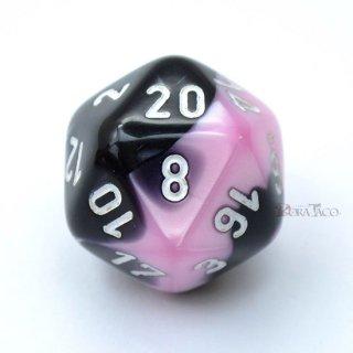 ジェミニ【ブラック・ピンク&ホワイト】20面サイコロ(ダイス)