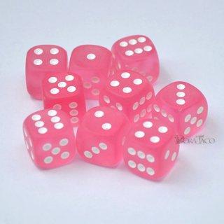 単品◆フロスト 12mm【ピンク&ホワイト】6面サイコロ(ダイス)