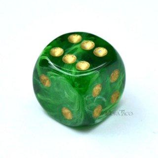 ボルテックス 16mm【グリーン&ゴールド】6面サイコロ(ダイス)