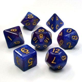 星雲【銀河-青紫】ラメ入り多面体ダイス7個セット