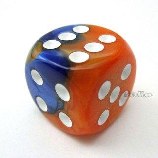 ジェミニ【ブルー・オレンジ&ホワイト】6面サイコロ(ダイス)