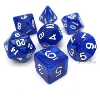 マーブルダイス【ブルー&ホワイト】 サイコロ7個セット