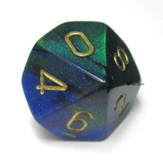 単品:チェセックス ジェミニ ブルー・グリーン&ゴールド 10面×1個