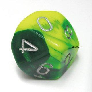 単品:チェセックス ジェミニ グリーン・イエロー&シルバー 10面×1個