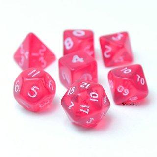 ミニダイス 多面体ダイスセット ピンク&ホワイト