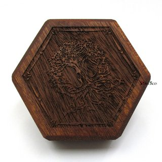 ミニダイス用◆六角形ダイスボックス【ユグドラシル/マホガニー】