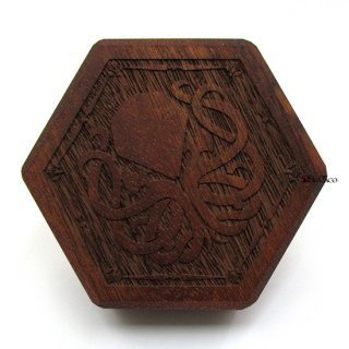 ミニダイス用◆六角形ダイスボックス【クトゥルフ/マホガニー】