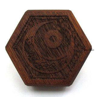ミニダイス用◆六角形ダイスボックス【神秘の目/マホガニー】