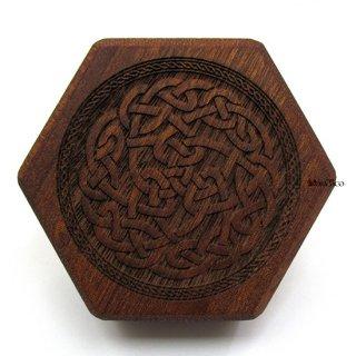 ミニダイス用◆六角形ダイスボックス【ケルトボーダー/マホガニー】