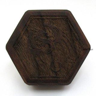 ミニダイス用◆六角形ダイスボックス【飛竜/ウォルナット(クルミの木)】