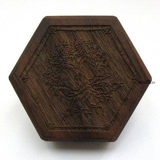 ミニダイス用◆六角形ダイスボックス【ユグドラシル/ウォルナット(クルミの木)】