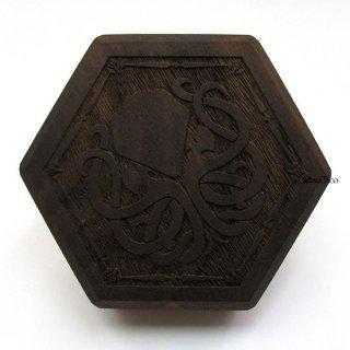 ミニダイス用◆六角形ダイスボックス【クトゥルフ/ウォルナット(クルミの木)】
