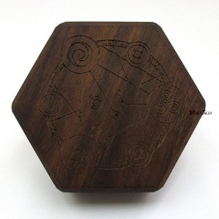 ミニダイス用◆六角形ダイスボックス【魔法陣/ウォルナット(クルミの木)】