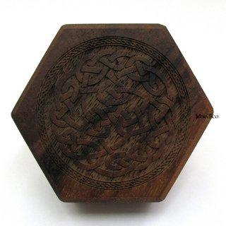 ミニダイス用◆六角形ダイスボックス【ケルトボーダー/ウォルナット(クルミの木)】