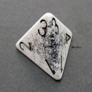 偶然誕生◆ひび割れ【ホワイト&ブラック】4面サイコロ(ダイス)