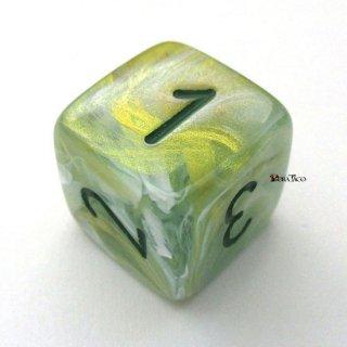 アラビア数字◆マーブル【グリーン&ダークグリーン】6面サイコロ(ダイス)