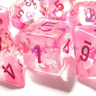リボン型ラメ入り【ピンク】サイコロ7個セット