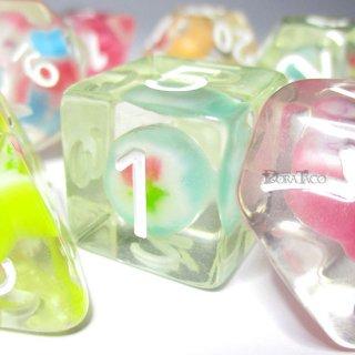 飴入り・お菓子のサイコロ7個セット(アメの色・形状・模様はランダムです。食べられません。)
