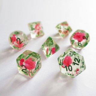 カスミソウの花◆花入りサイコロ7個セット【ピンク&グリーン】多面体ダイス
