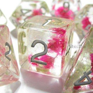 カスミソウの花◆花入りサイコロ7個セット【ピンク&シルバー】多面体ダイス
