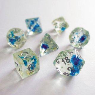 カスミソウの花◆花入りサイコロ7個セット【ブルー&シルバー】多面体ダイス