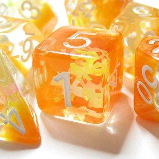リボン型ラメ入り【オレンジ】サイコロ7個セット