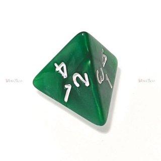 単品◆パール調【濃緑/白】4面サイコロ(ダイス)