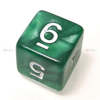 単品◆パール調【濃緑/白】6面サイコロ(ダイス)