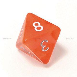 単品◆透明【オレンジ】8面サイコロ(ダイス)