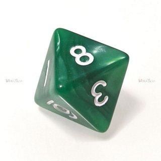 単品◆パール調【濃緑/白】8面サイコロ(ダイス)