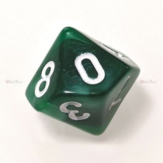 単品◆パール調【濃緑/白】10面サイコロ(ダイス)