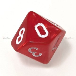 単品◆パール調【赤/白】10面サイコロ(ダイス)