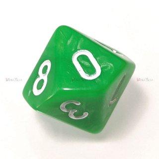 単品◆パール調【黄緑/白】10面サイコロ(ダイス)