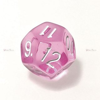 単品◆透明【ピンク】12面サイコロ(ダイス)