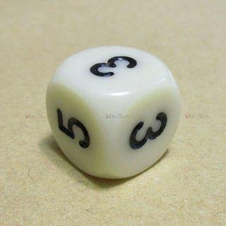 単品◆6面2-3-3-4-4-5【アイボリー&ブラック】6面サイコロ(ダイス)