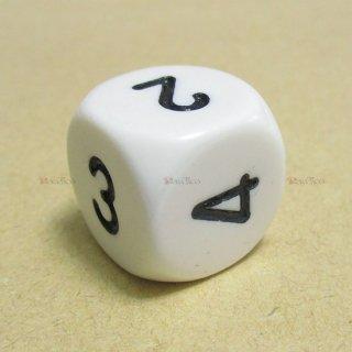 単品◆6面2-3-3-4-4-5【ホワイト&ブラック】6面サイコロ(ダイス)