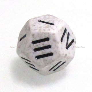 単品◆12面1〜4【ホワイト&ブラック】12面サイコロ(ダイス) XS1487