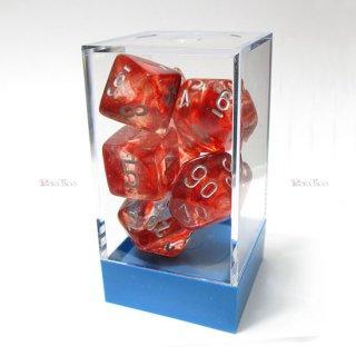 蓄光◆ラボ【レッド&シルバー】多面体7個セットサイコロ(ダイス) CHX30009