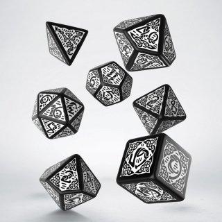 ケルト(Celtic)【ブラック&ホワイト】ダイス 7個セット Dice Set Q-WORKSHOP