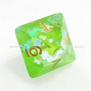 パズル型ラメ入り【グリーン】 8面サイコロ