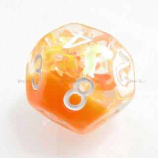 リボン型ラメ入り【オレンジ】 12面サイコロ