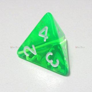 単品◆透明【緑-頂点】4面サイコロ(ダイス)