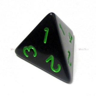 単品◆不透明【黒/緑】4面サイコロ(ダイス)