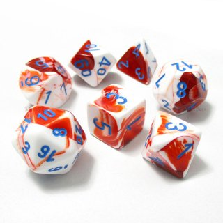 ジェミニ【レッド・ホワイト&ブルー】多面体7個セットサイコロ(ダイス) CHX30022