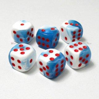 単品◆ジェミニ 12mm【アストラルブルー・ホワイト&レッド】6面サイコロ(ダイス) DG1257