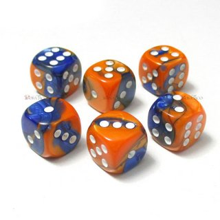 単品◆ジェミニ 12mm【ブルー・オレンジ&ホワイト】6面サイコロ(ダイス) DG1252