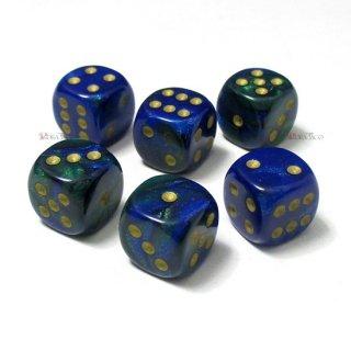 単品◆ジェミニ 12mm【ブルー・グリーン&ゴールド】6面サイコロ(ダイス) DG1236