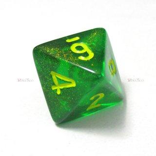 単品◆オーロラ【メイプルグリーン&イエロー】8面サイコロ(ダイス) PB0835
